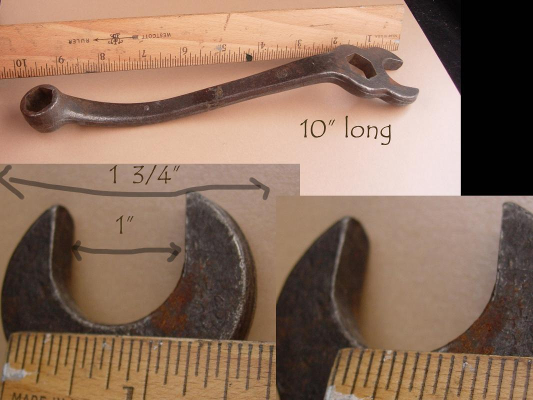 Antique Model T Wrench - Vintage tool - Mechanic gift -  Combination wrench - Spark Plug & Cylinder Head Bolt - Ford automobile Hex Open End