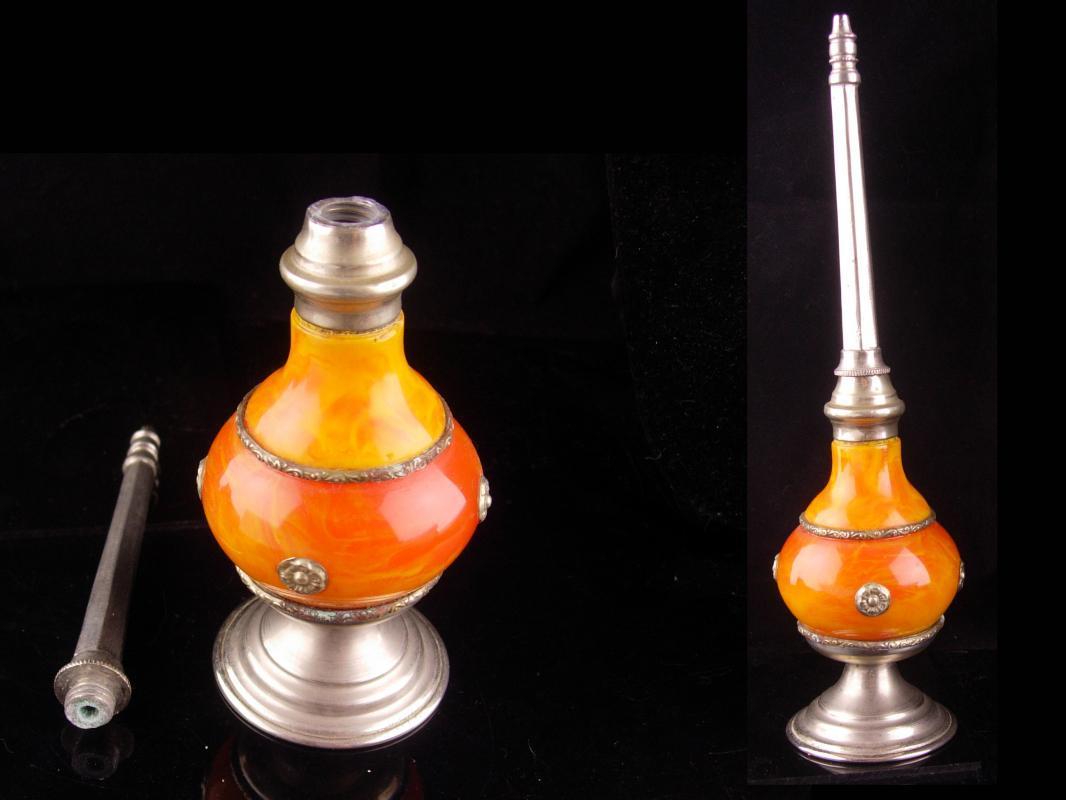 Antique Rosewater bottle - religious bottle - catholic rosewater bottle - anoiting bottle  - christening gift  -scent bottle
