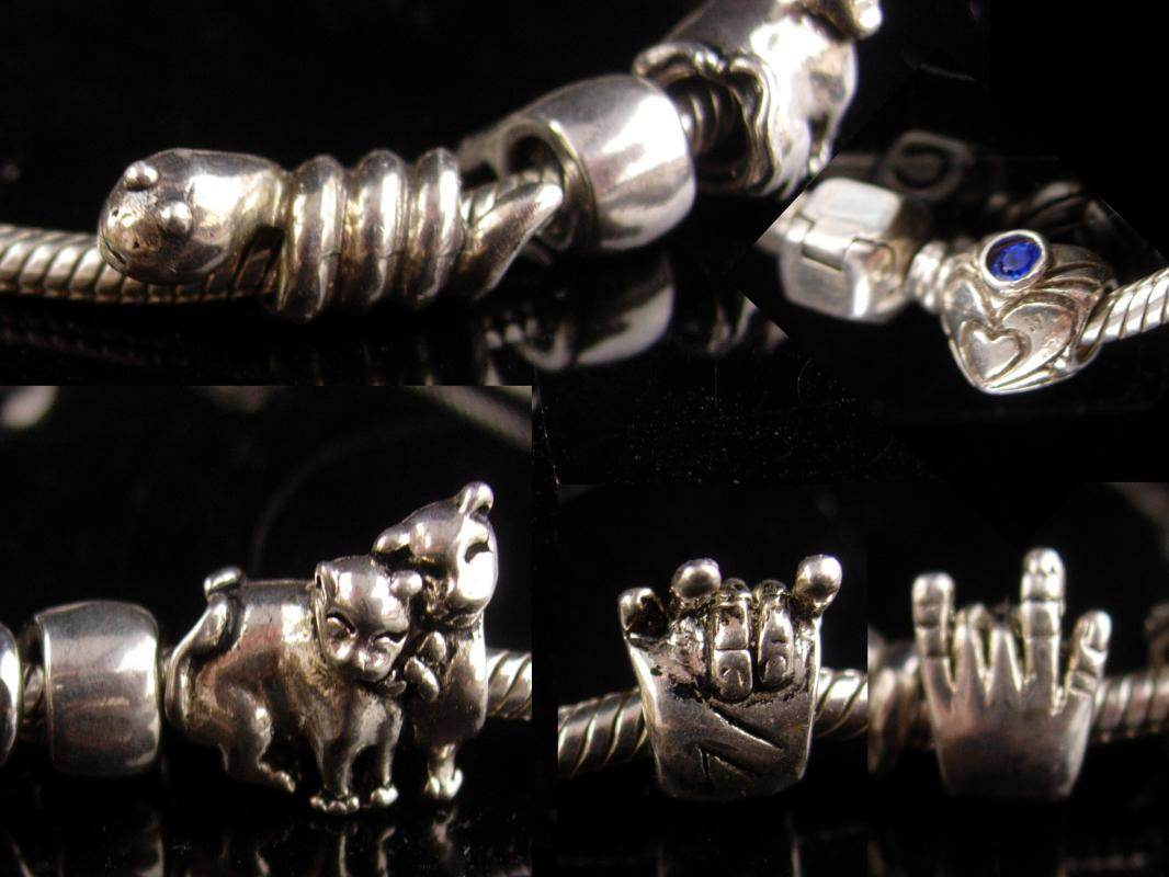 Sterling Charm Bracelet - motorcycle slider - I lover you Charm - Snake serpent - Football - Cat charm - Heart charm - 8 1/4