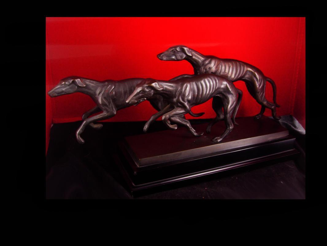 Art deco Saluki statue - running whippets - bronze dogs - Vintage Sighthound Dog - Tracks Races GreyHound Gambling Betting Borzoi Afghan