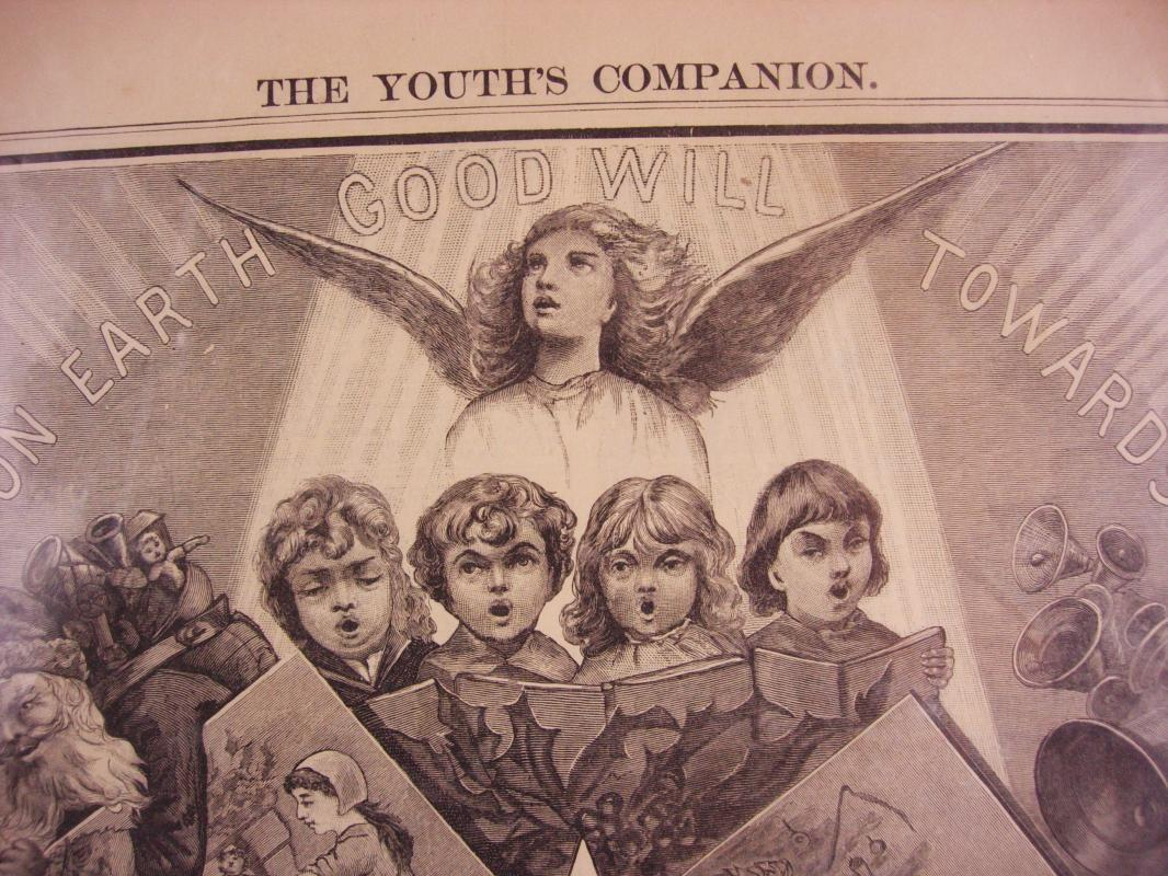 15x9 Antique Victorian angels - December 11 1884 - framable Cherubs - signing angels - perfect for framing - christmas design