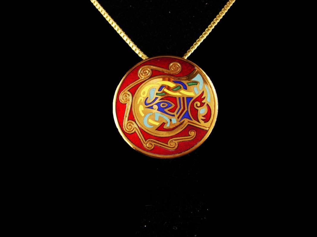Irish necklace - Vintage bird enamel Cloisonne Pendant - Tara Ware brooch - beautiful enamel work - 18