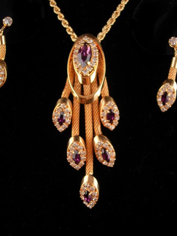 Stunning Vintage rhinestone necklace set - Purple tassel drops - amethyst rhinestone clip on earrings - Mesh gold necklace - estate jewelry