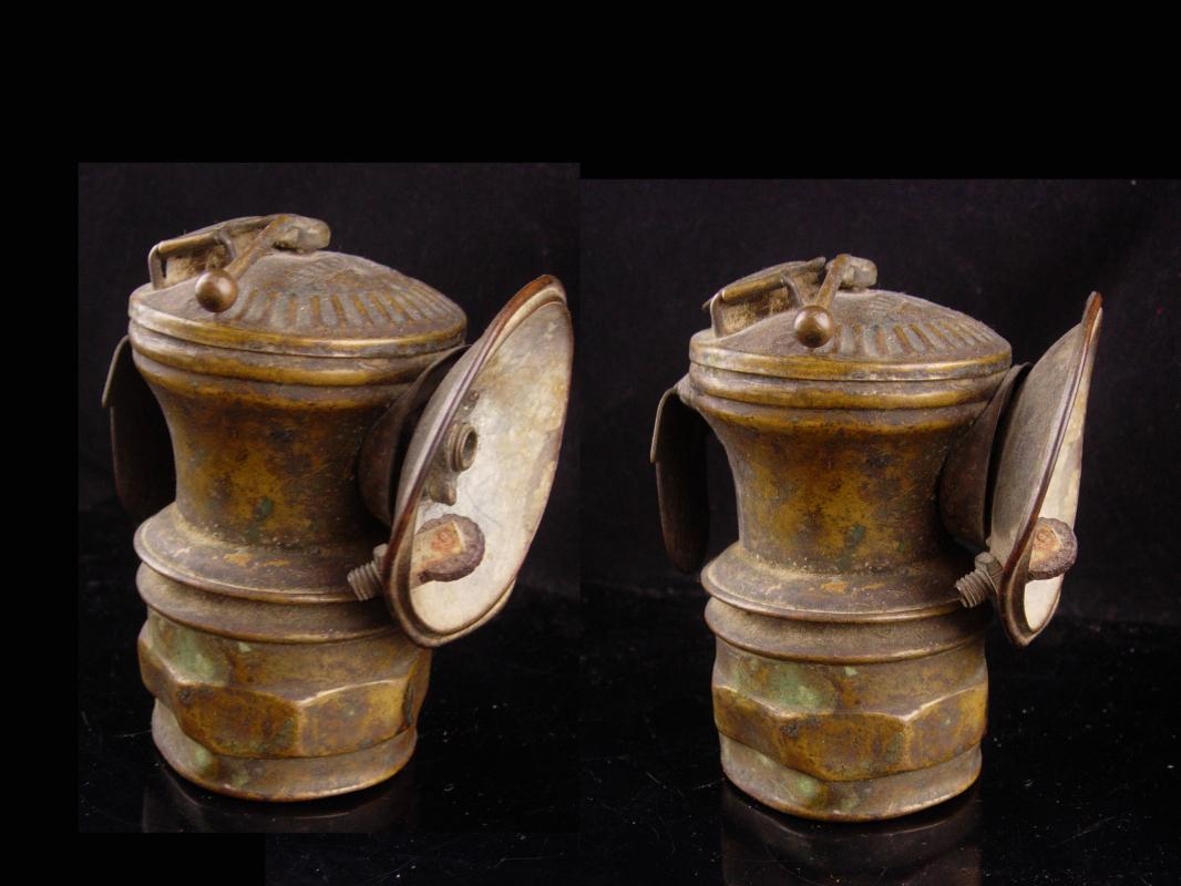 Antique Lamp - Coal Miners Helmet - Carbide Cap Lanterns - Signed Auto Lite Universal Lamp Co