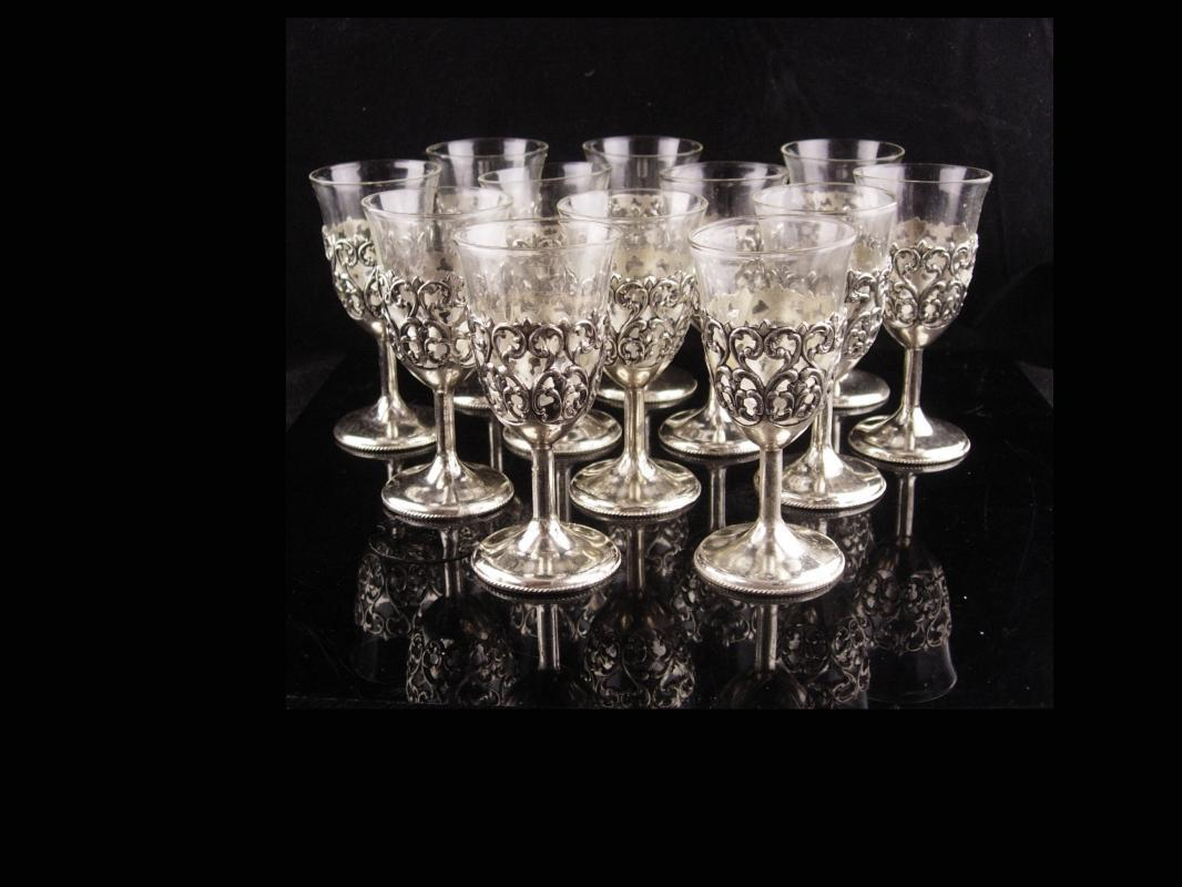 Vintage wedding cordials - fancy silver goblet - 12 piece clear glass - Liqueur wine cordials