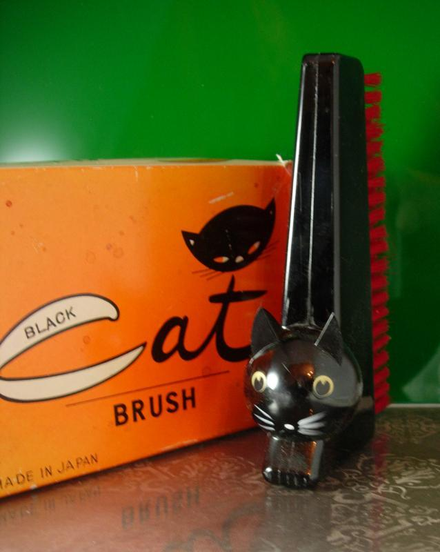 Halloween Cat Brush ORiginal box Spooky Black kitty and Red bristle clothes brush made in Japan