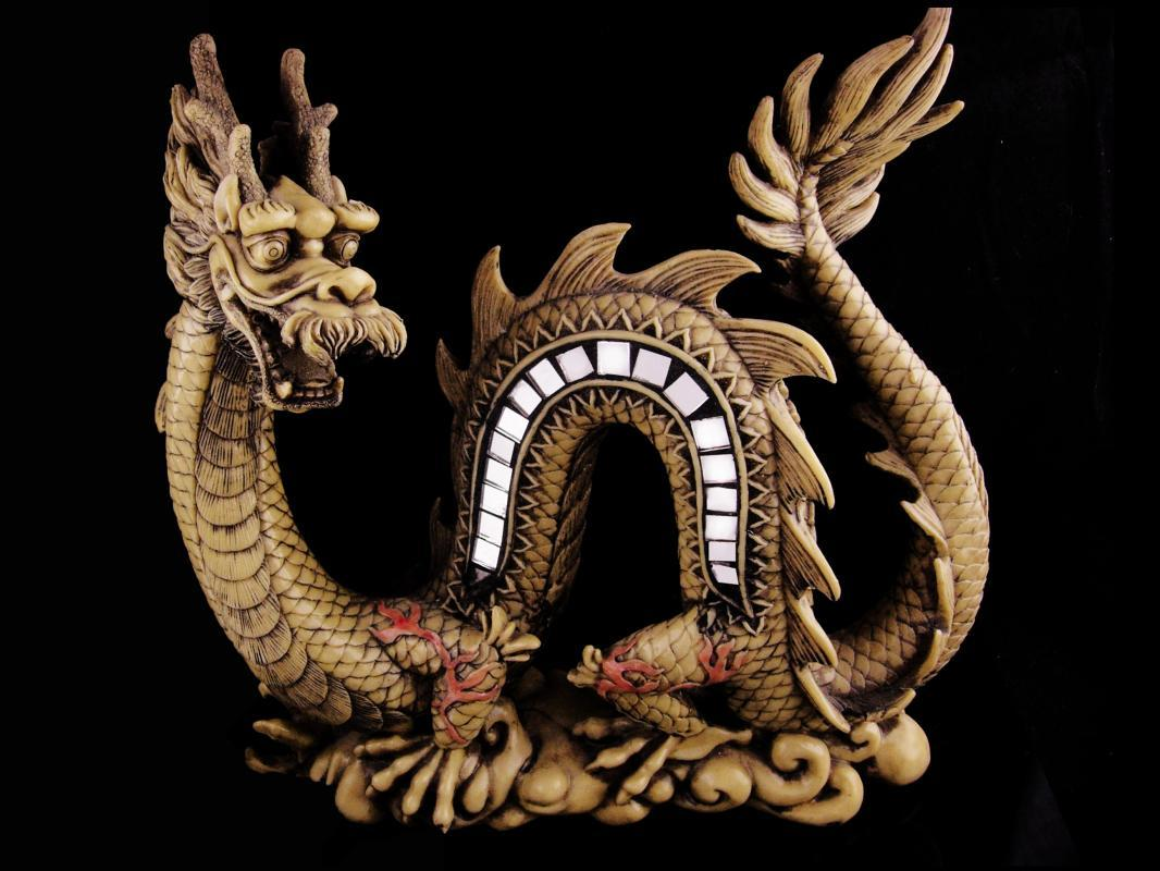 Large Dragon Statue - Asian fantasy sculpture - Chinese gothic  Medieval Mirror