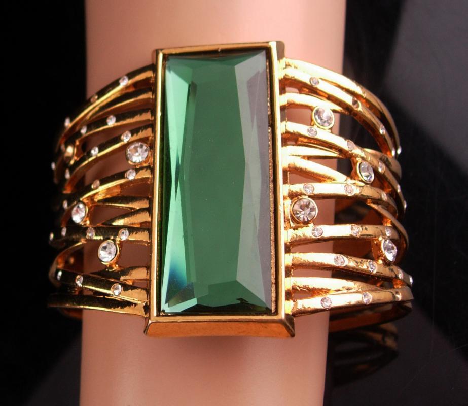 Couture Statement bracelet - wide rhinestone cuff - designer jewelry - Green stone centerpiece