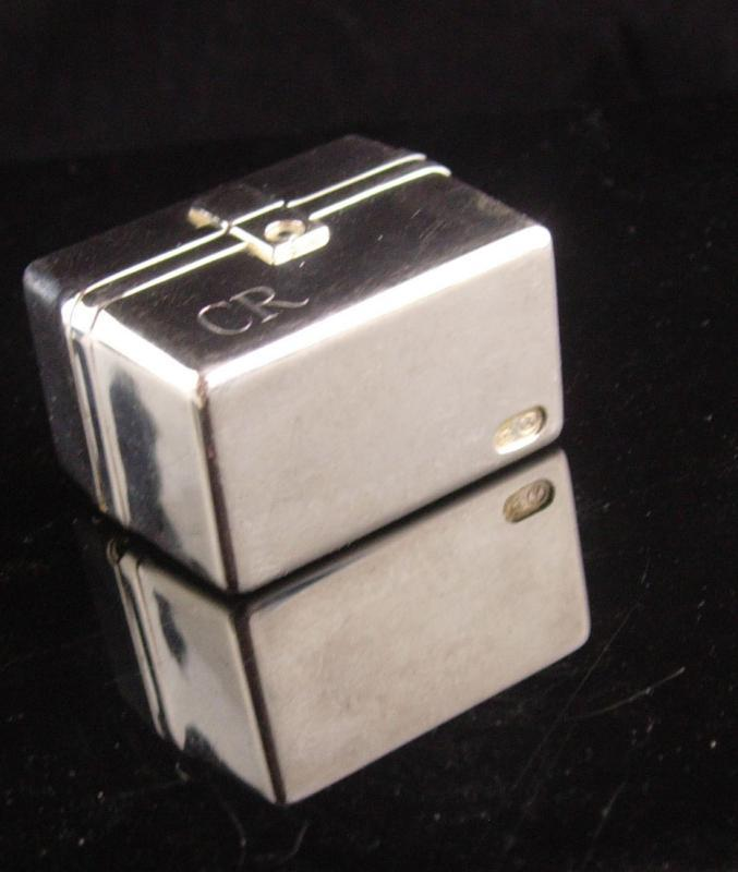 Vintage Sterling Pillbox - miniature luggage purse - carrying case - Hallmarked with handle