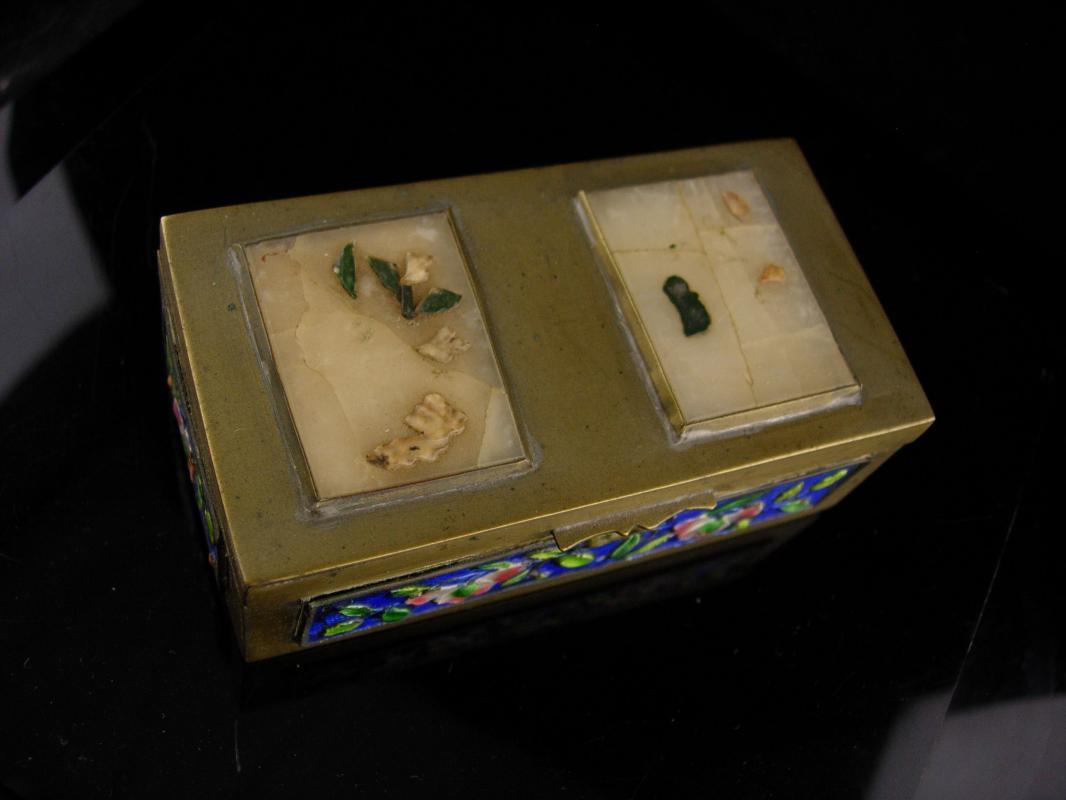 Antique Enamel Stamp Box - double compartment -miniature box - vintage desk accessory