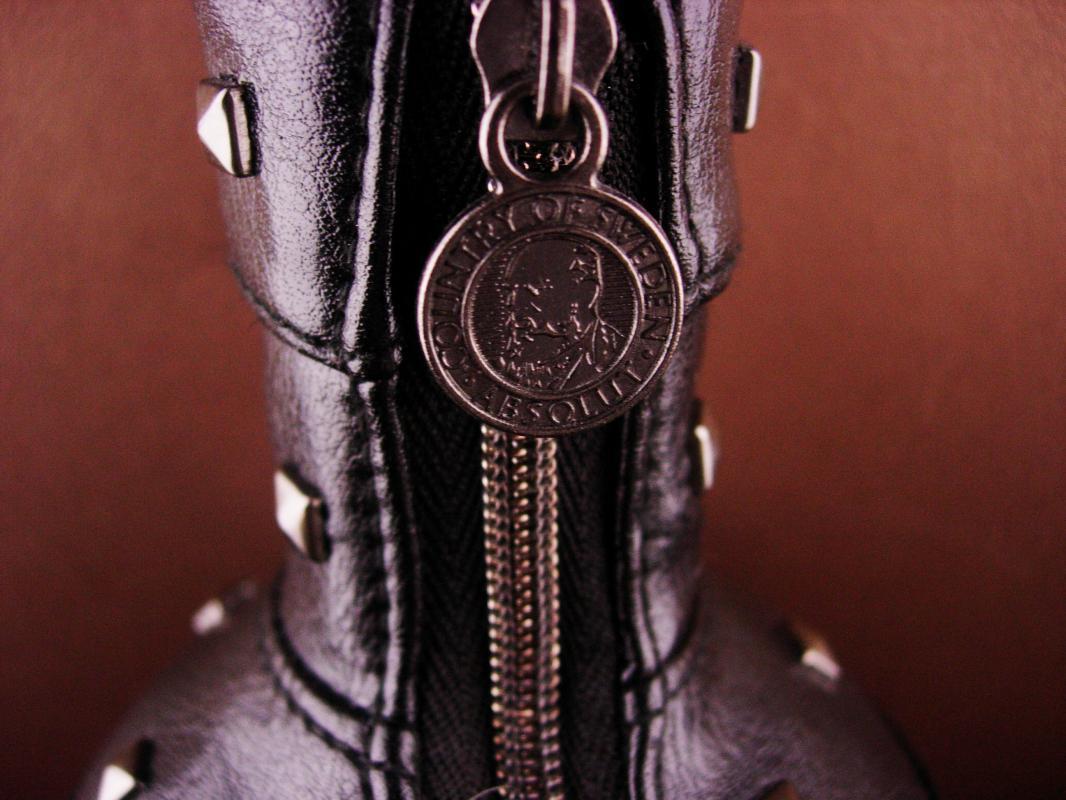 Vintage Leather stud Bottle cover - Absolute Vodka  zipper black leather - designer Natalia Brilli - S&M gift