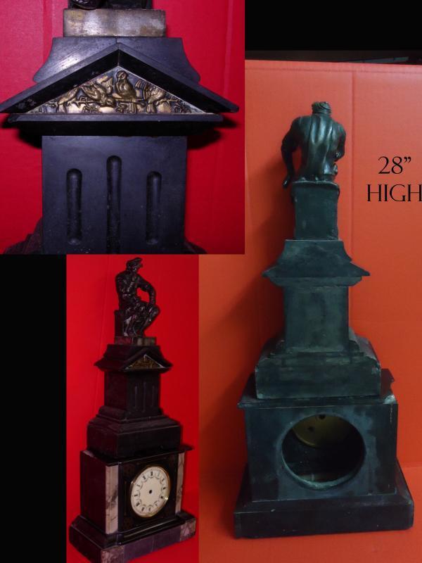 Antique Marble Clock - Roman soldier mantle statue - Victorian thinker - unusual vintage clock