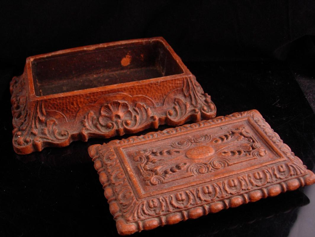 Antique Coffin box Victorian Bible case miniature coffin casket ornate baroque carving Trinket jewelry dresser heirloom vintage chest
