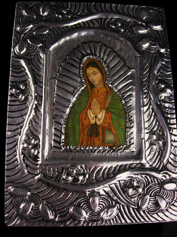 Vintage Russian Icon - silver hammered plaque - religious Virgin Mary WALL icon - Ornate Christian Catholic gift
