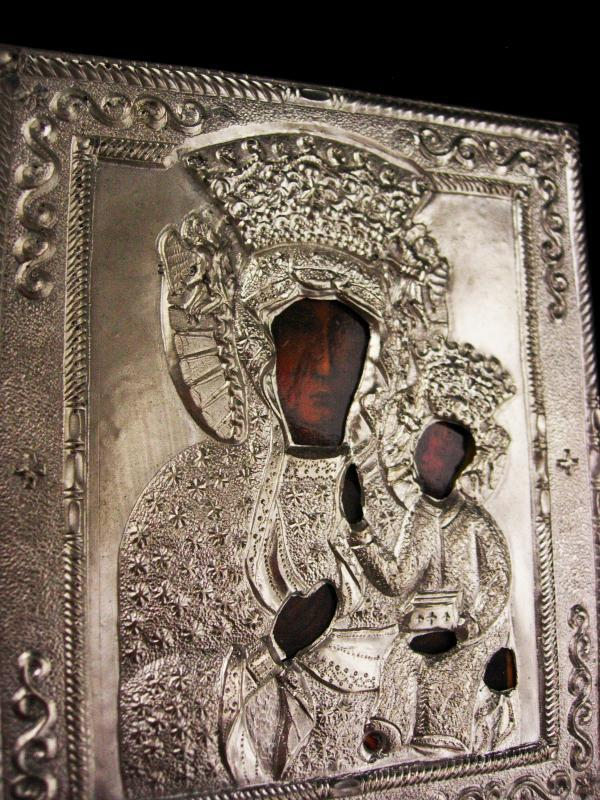 Vintage Russian Icon - silver hammered plaque - religious Christ on a cloth WALL icon - Byzantine Ornate Christian Catholic gift