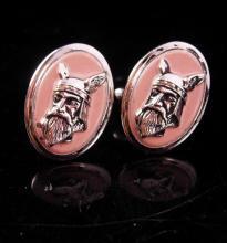 8d4516ac1004 Nordic Viking Cufflinks Vintage Designer pink & Silver Swank.