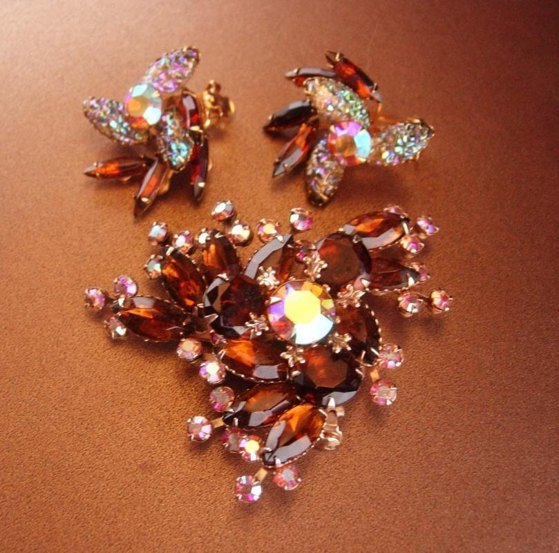 Amber Rhinestone Flower Clip-on Earrings