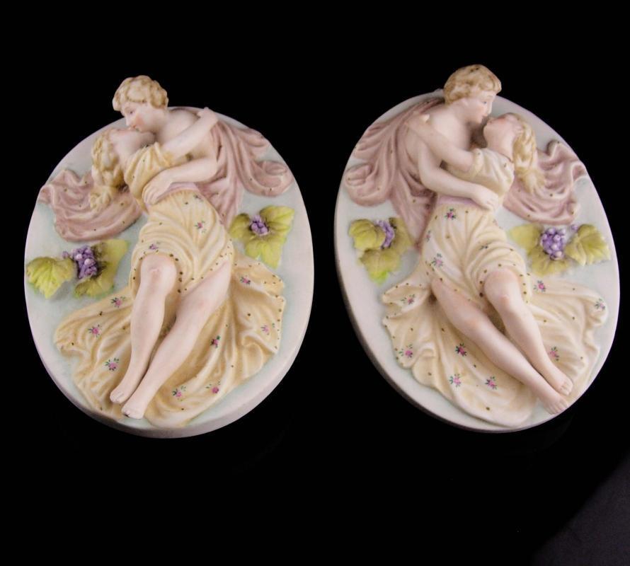 Pair Antique Victorian lovers plaques - Hallmarked Kalk Crossed arrows - Vintage wedding gift - porcelain kissing man woman