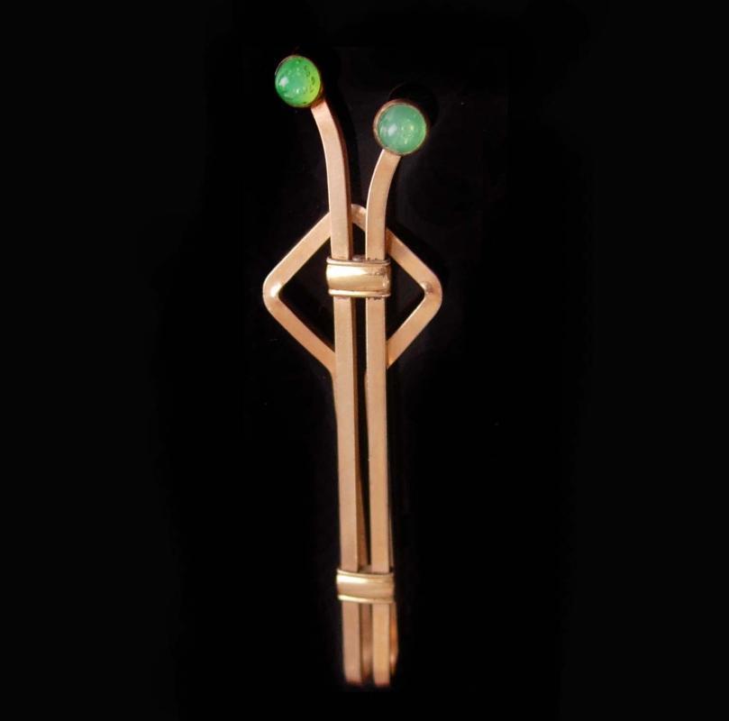 4eb8f3c3905a Art Deco chrysoprase Tie Clip Vintage Designer Jewels Gold Krementz money  clip extra long Men's Fine