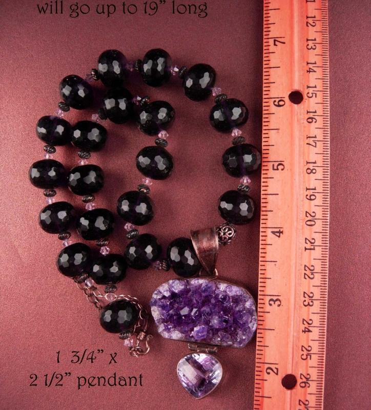 125 CT Amethyst necklace - huge statement heart pendant - ooak - purple faceted beads