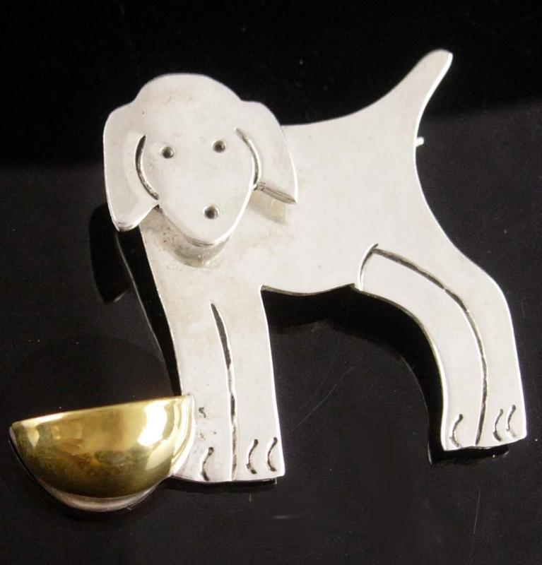 Vintage Sterling Dog brooch - silver puppy with bowl - mexican jewelry - signed pin - dog lover gift