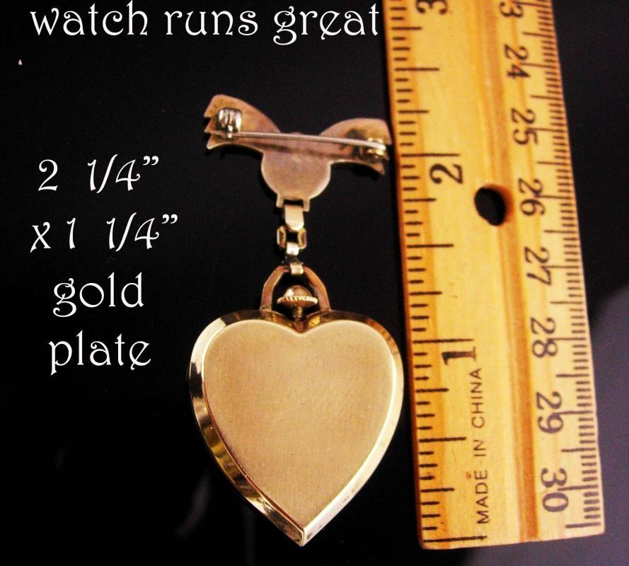 1940's Heart Watch brooch - vintage lapel pin - Leora Chatelaine watch