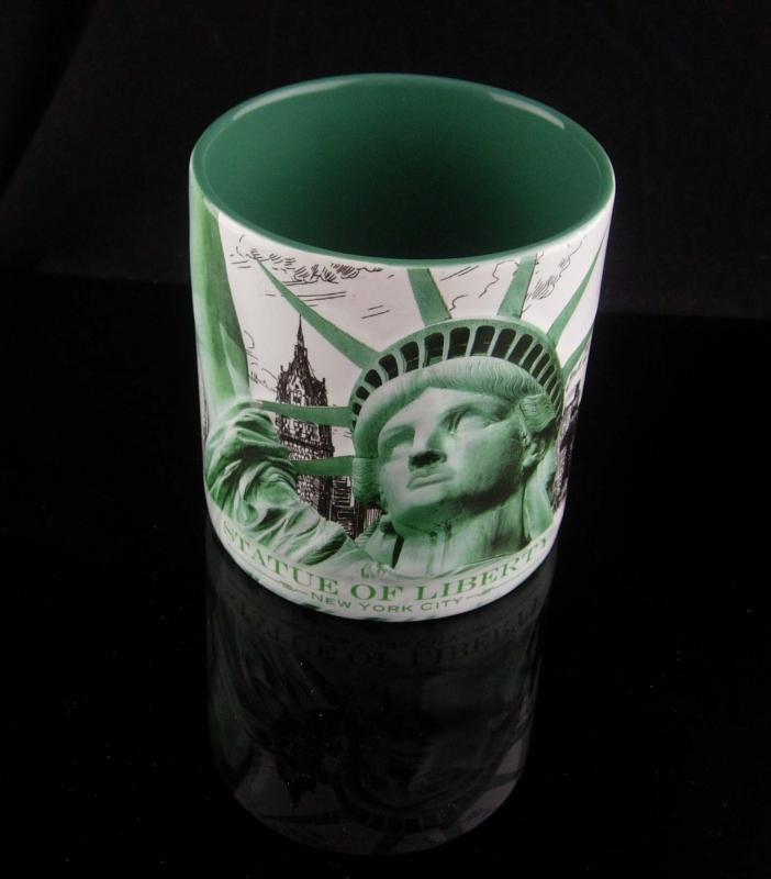 Large Statue of Liberty Mug - Vintage New York Cop - coffee cup - souvenir Museum store green and white