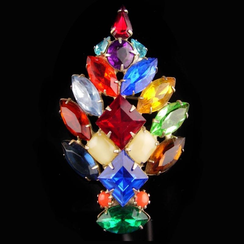 1950's Christmas Tree Brooch - chunky baguettes - multi color pin - Unusual design - 2 3/4