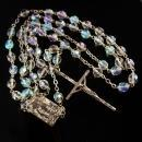 Vintage Rosary - Aurora Borealis Crystal beads - holy water - Sacred Heart religious gift - silver Crucifix