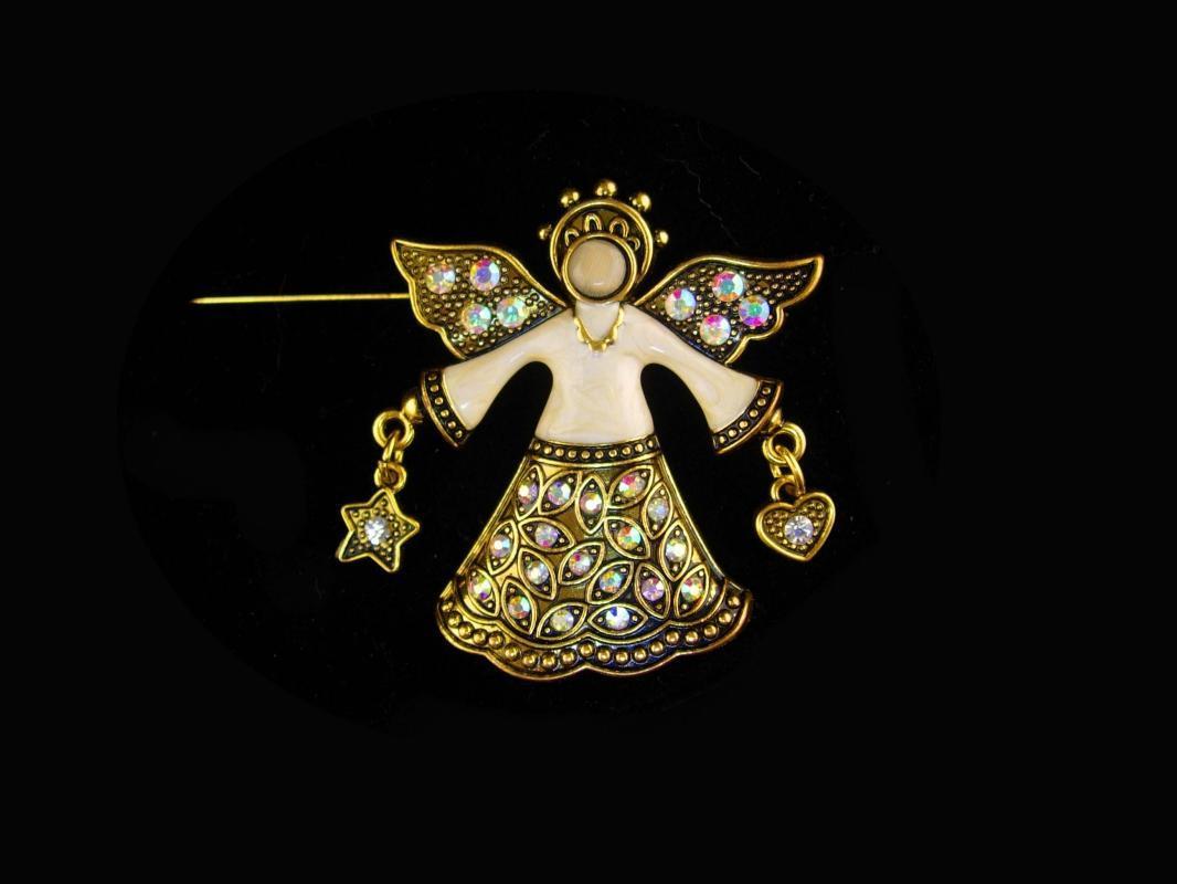 Aurora Borealis Angel pin - Large Signed enamel Angel Brooch - rhinestone star and hearts - stocking stuffer - gift of faith
