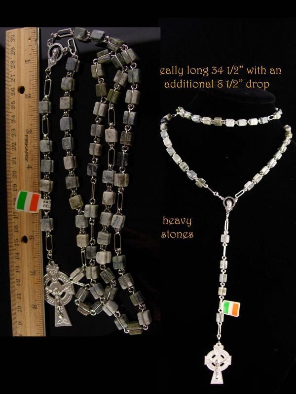 Irish Rosary - Connemara Marble - Irish wedding - celtic cross - Silver Crucifix - Irish Blessing -Ireland Gift