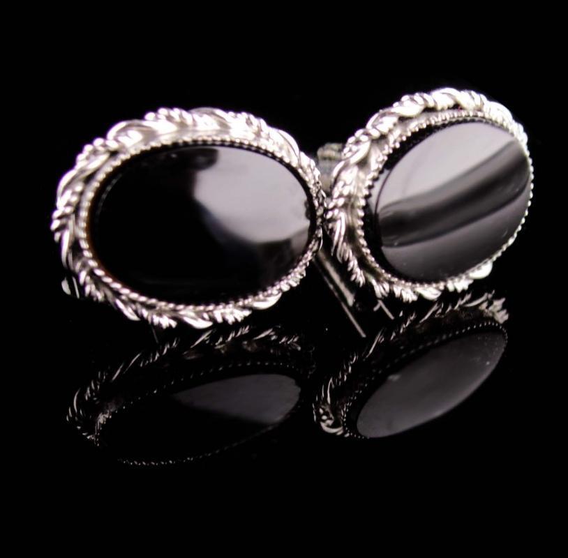 Vintage Sterling Cufflinks - Black tuxedo sets -Silver Cuff links - Wedding groom gift  - anniversary - mens Birthday