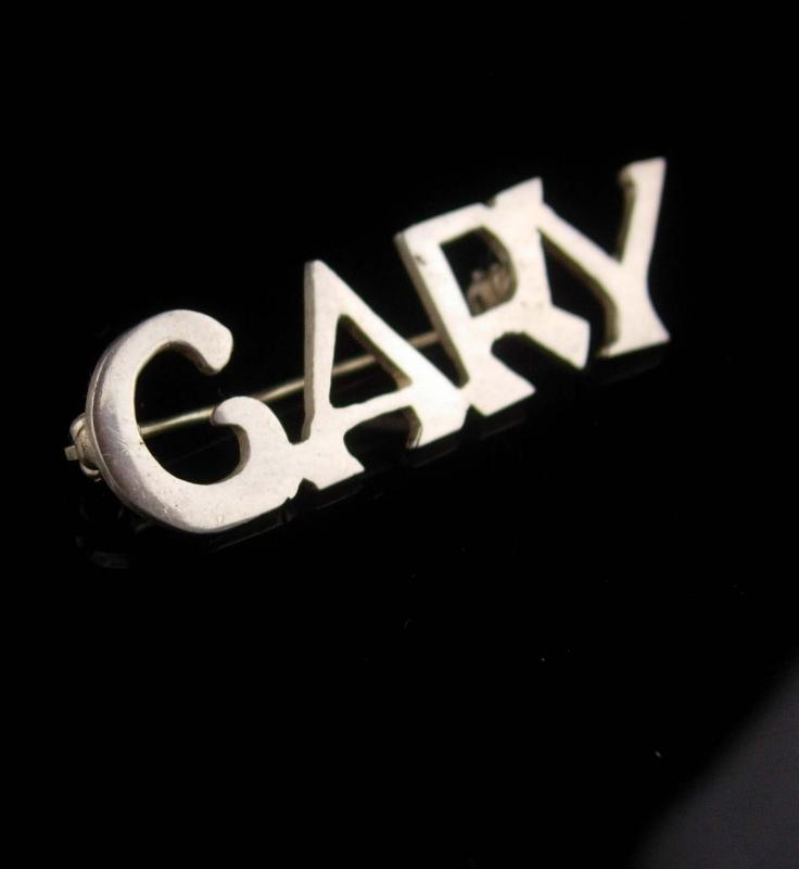 Vintage Sterling Gary Brooch - personalized gift - Cary name pin - silver pin - sweetheart sentimental personalized name pin  estate jewelry