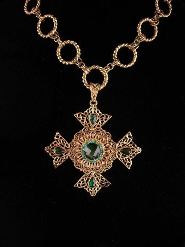 Huge Maltese Cross necklace - Green Celtic cross - medieval necklace - renaissance revival  - estate costume jewelry