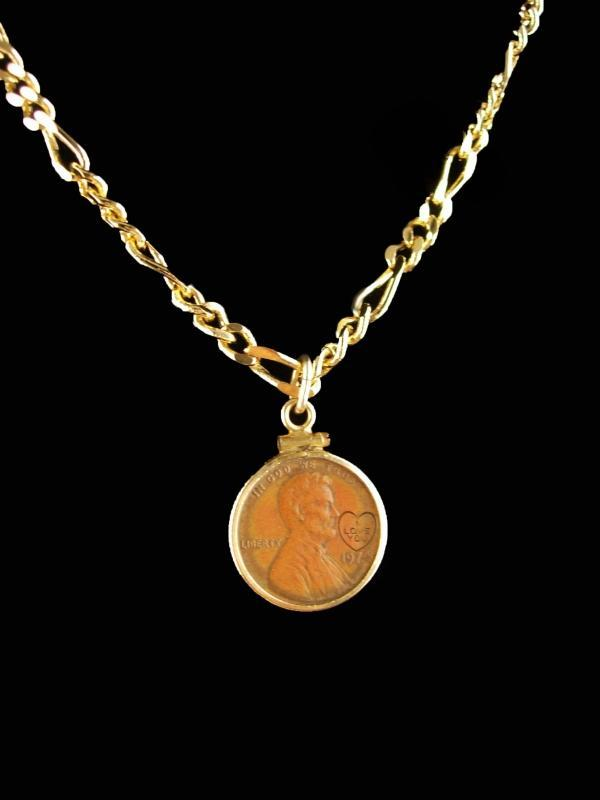 1974 Penny - 14kt gold penny holder pendant - coin jewelry - I love you heart 20