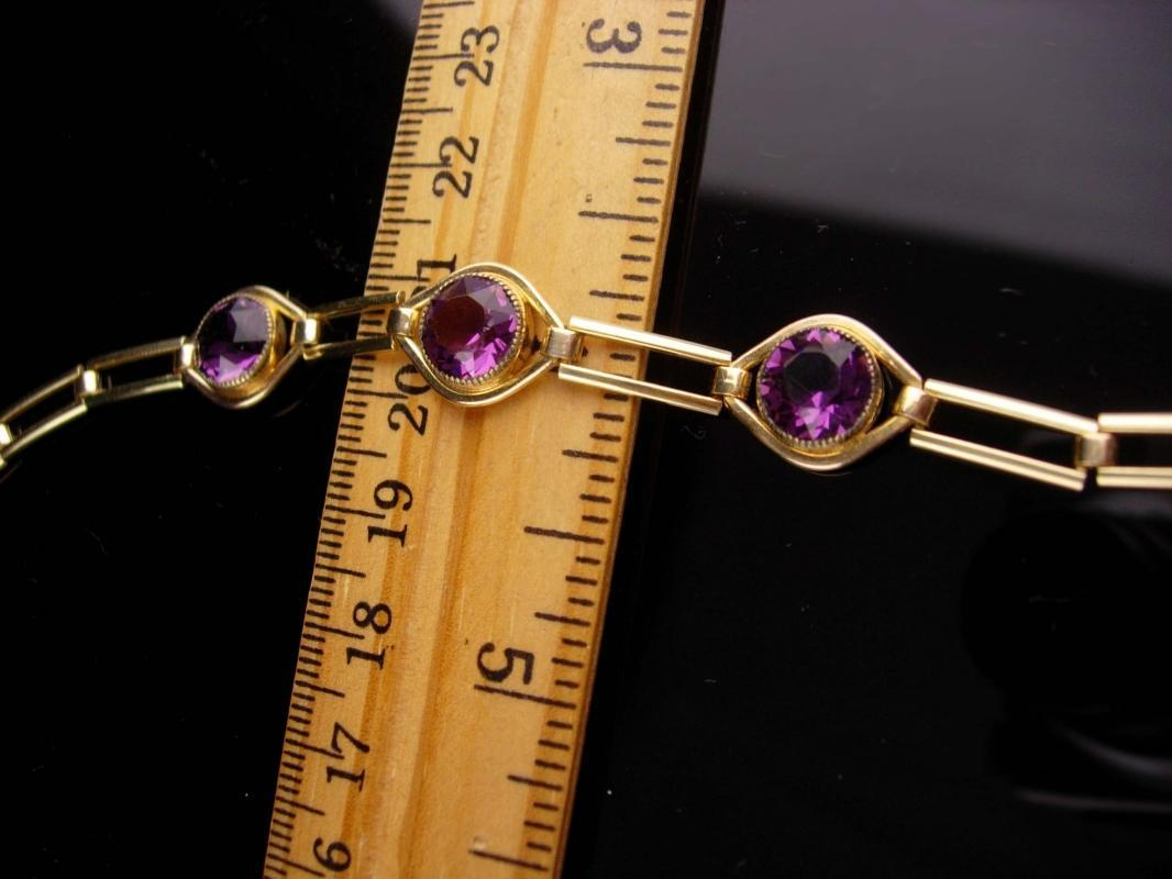 Art Deco Amethyst bracelet - Antique Simmons gold filled link - February Birthday - Purple birthstone - aquarius gift