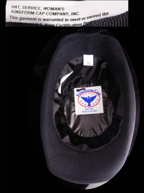 Vintage USN leather hat - US NAVY white Woman Officers Hat -  Size 22 Kingform Cap - Military anchor eagle