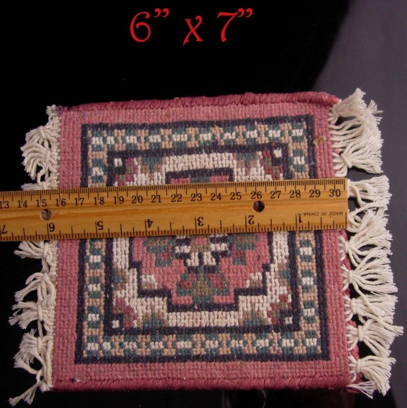 Vintage Miniature Carpet - Doll house persian rug - Arabian carpet - magic carpet - flying carpet - thick woven pink rose rug
