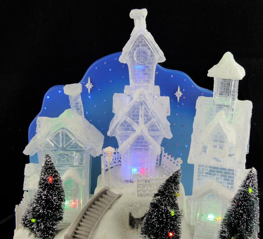 Electric Snow Village - Blue crystal color - Christmas snow scene - mantle piece - light up clear village