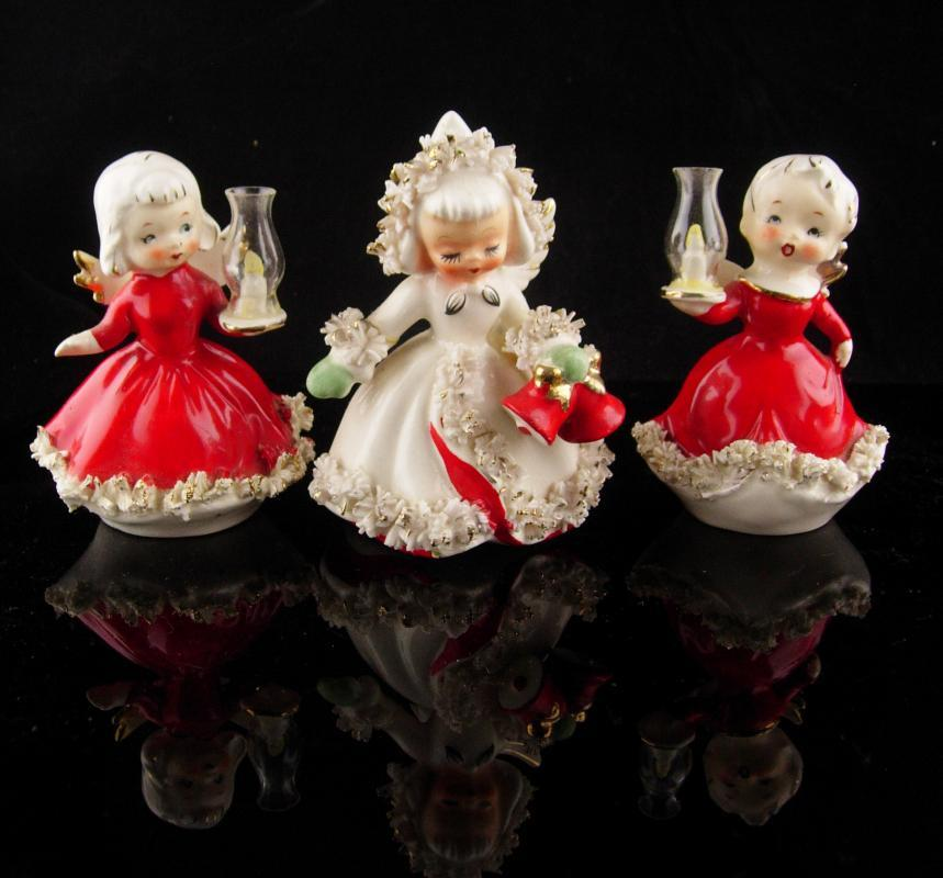 1950's Christmas Angel figurines - holt howard 1958 - red boy & girl - candleholder - hurricane lamp - Christmas statues