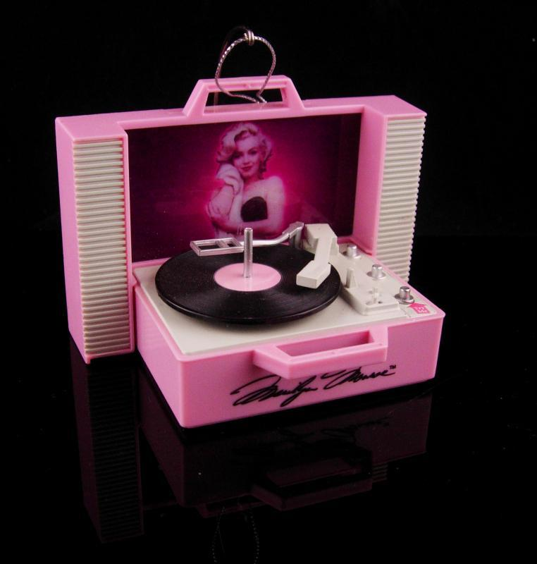 Vintage Marilyn monroe ornament - pink record player - Sings Santa Baby - Christmas tree Ornament - diamonds are a girls best friend