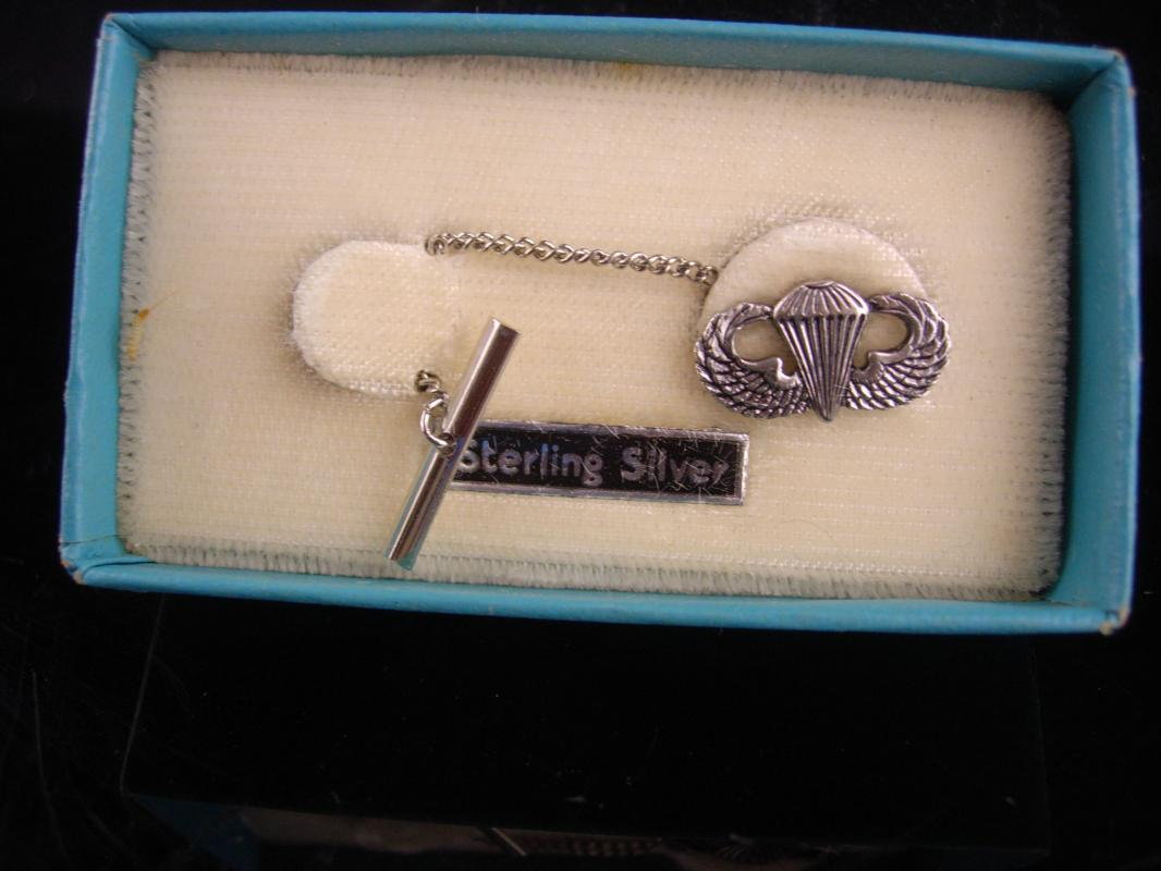 Vintage ww11 sterling military Tie tack / Paratrooper tie chain / original case silver wings / parachute Award / Veteran Retirement