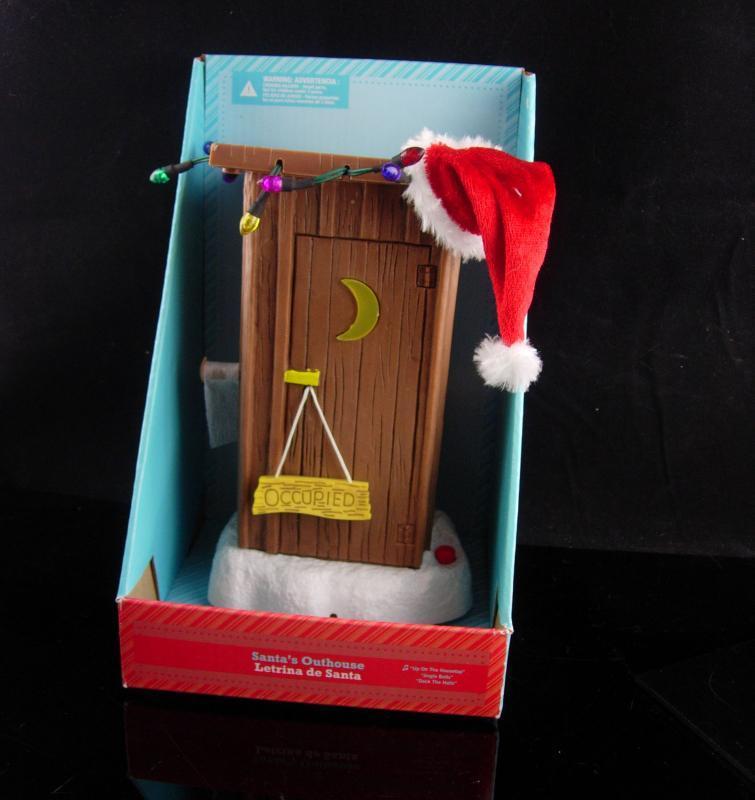 Christmas Gag Gift - Santas outhouse - lights up - naughty sayings -