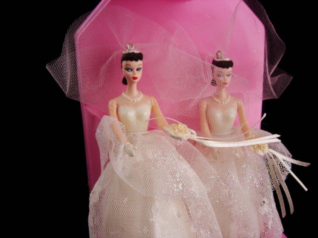 1987 Barbie wedding ornaments - 2 barbies - no ken- gay interest - lgbt gift - wedding dress cake topper