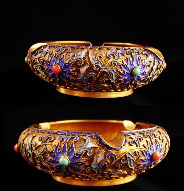 Antique Cloissone Ashtray - chinese Champleve trinket dish - vintage gold enamel tray