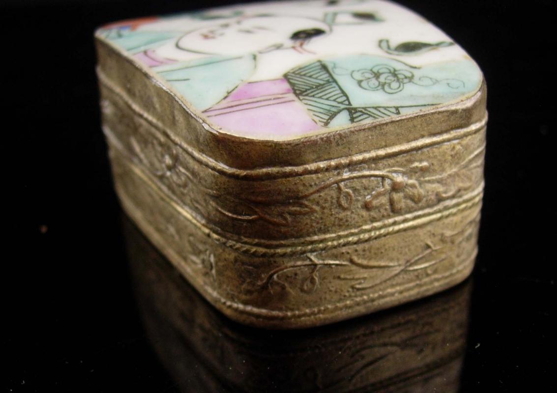 Chinese Enamel Box - Asian trinket - samurai  Oriental Ring casket - keepsake jewelry case - Vintage repousse  metal