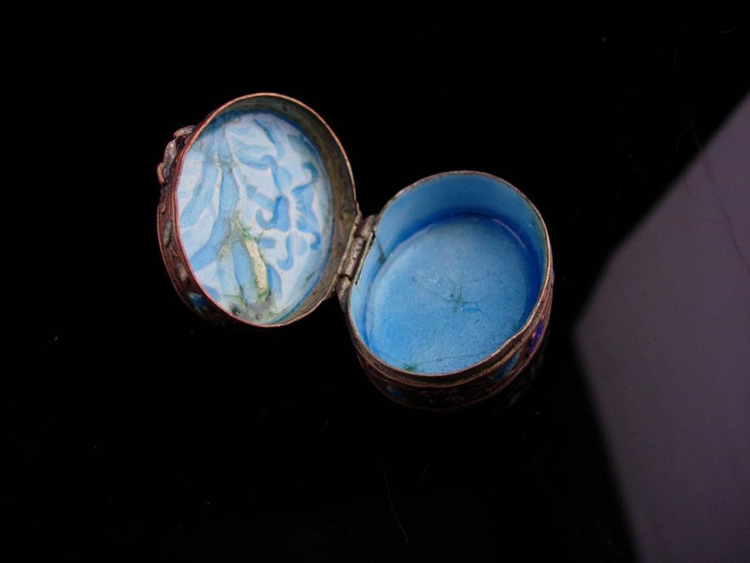 Antique Chinese Box - miniature enamel ring casket -  Asian flowers Oriental lotus blossom  keepsake jewelry case Vintage metal hinged