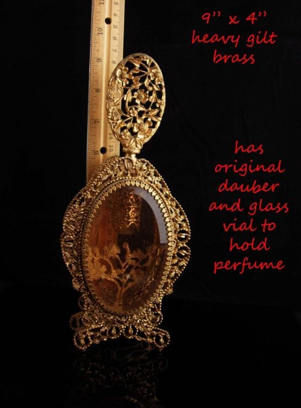 Antique French Perfume Bottle / Victorian Amber glass / Ormolu Fancy Bottle / With Glass Dauber and vintage ornate frame