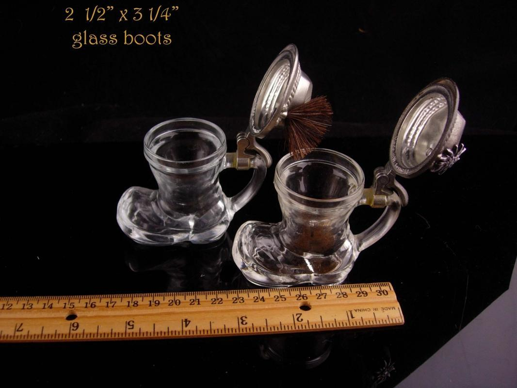 Vintage Shot glass set - german boots - hat badge - hinged lid - Beer drinker gift - edelweiss flower bartender gift