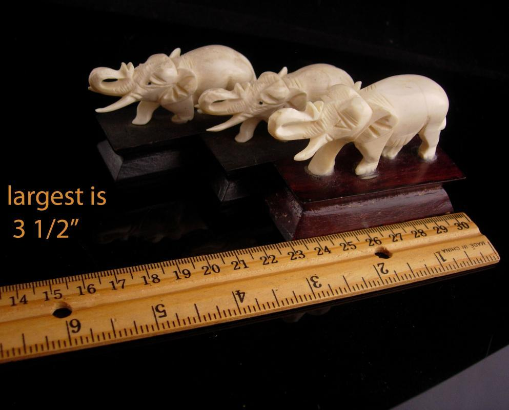 Vintage Elephant statues - 3 carved figurals - Good luck gift - miniature animals